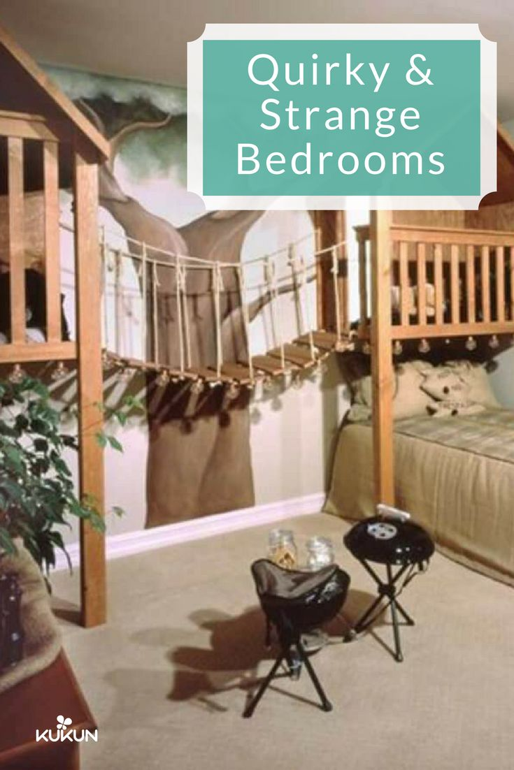 Get inspired and create a camping-themed bedroom for the little ones! They'll love to play pretend camp and you'll love the woodsy vibe too! Check out these Quirky and Strange rooms for ideas! [Treehouse Bedroom Ideas, Quirky Bedroom Ideas, Nature Inspired Bedroom Ideas, Camping Bedroom Theme, Interior Design Ideas, Bedroom Design Ideas, Kids Bedroom Ideas, Carpet Flooring]