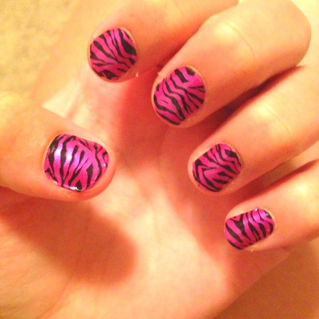 Pink zebra nails !: Pink Zebra
