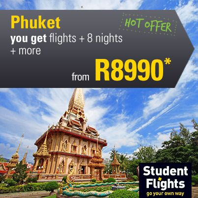 December hot offer Phuket flights + 8 nights from R8990 #Phuket #Thailand #StudentFlights #GoYourOwnWay #Travel