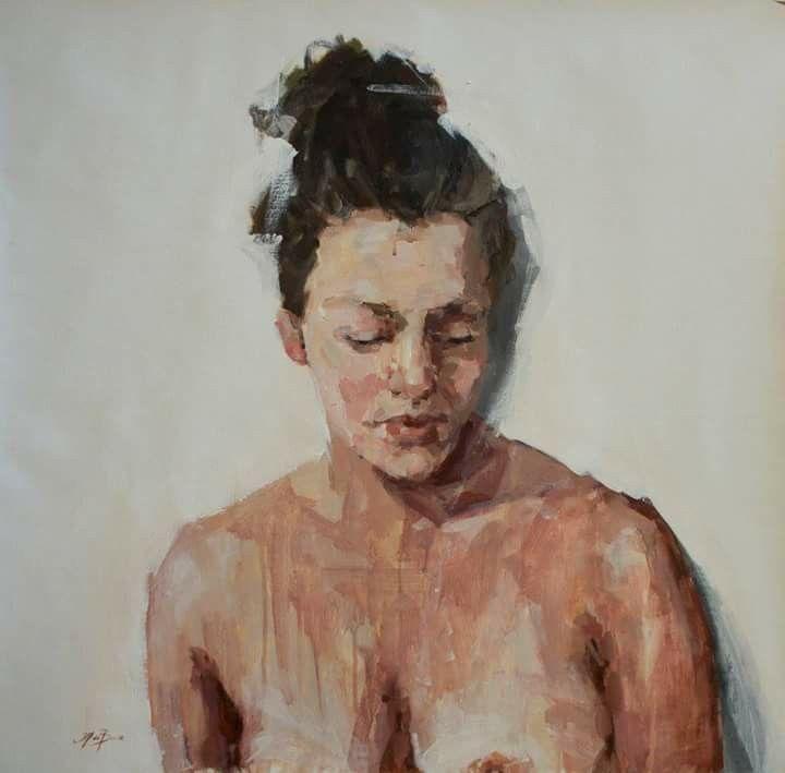 Jantien de Boer, Portrait of a mother, 2016, acrylics on canvas,  75 x 75 cm.
