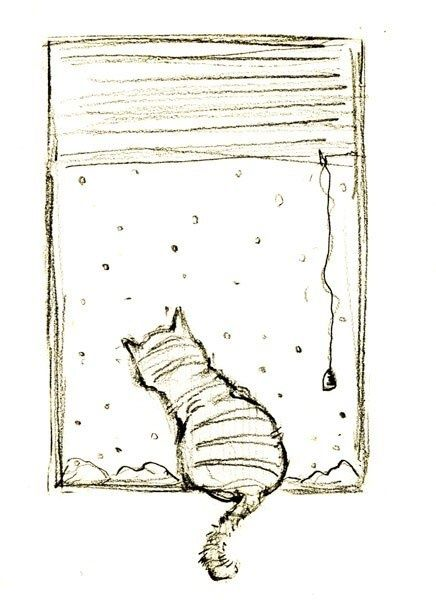 Lovely drawing of a cat staring out at the snow from Monica Carnesi