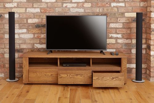 Olten - Widescreen TV Cabinet with Three Drawers #oak #wood #furniture #home #interior #decor #interiorinspiration #livingroom #diningroom #kitchen #lounge #house #storage #TV #television #cabinet