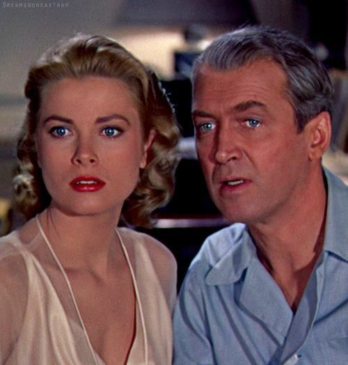 Grace Kelly and James Stewart in 'Rear Window', 1954 - Directed by Alfred Hitchcock.: