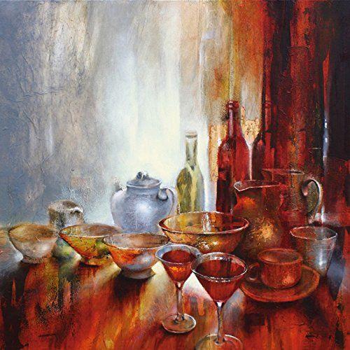 Echt-Glas-Wandbild Deco Glass Annette Schmucker Stillleben mit grauer Teekanne Ernährung & Genuss Geschirr & Besteck Malerei Rot