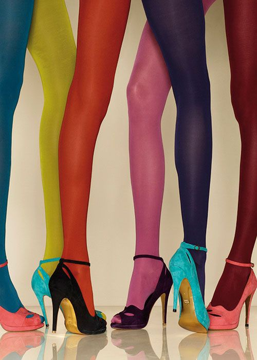 Jewel Tone tights, pink tights, purple tights, yellow tights, orange tights, 1960's style fashion.