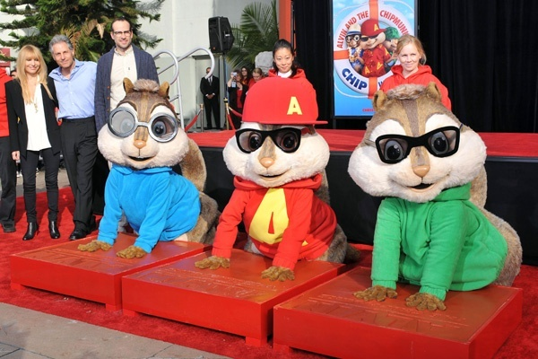 Alvin and the Chipmunks handprint (er, pawprint!) ceremony in Hollywood