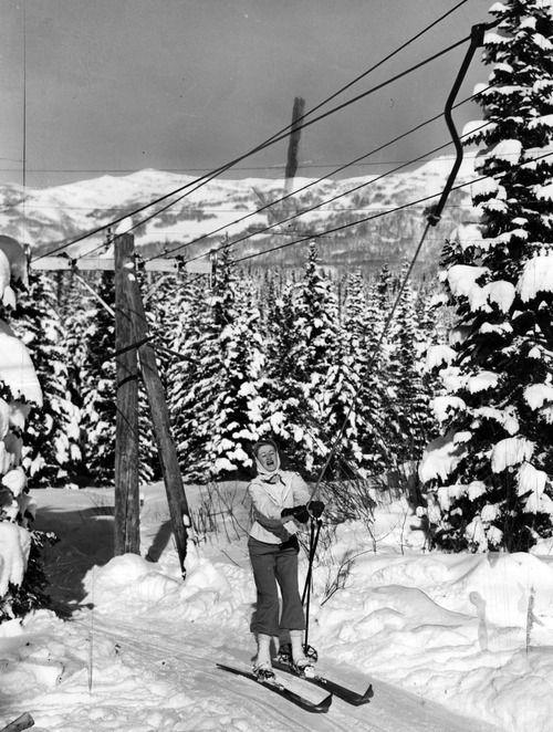 Grace Weaner riding Launer Hill tow at Brighton Ski Resort January 1940.