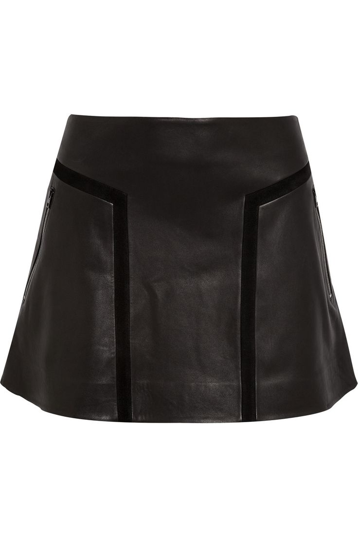 s black louise flared leather mini skirt leather