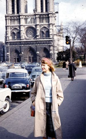 Sylvia Plath photographed in front of Notre Dame, Paris, in 1956! *** ©Copyright The Lilly Library, Indiana University