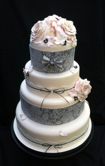 Vintage Lace Cake Decorating : 47 best images about Wedding Color Palette(Gray) on ...