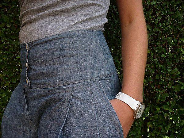 Pantalon taille haute. Patron burda.