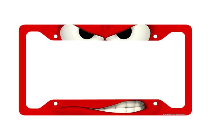 Airstrike® Funny License Plate Frame, Smirk Car Tag Frame, Back Off License Plate Holder, Angry Mad Decorative License Plate Frame-30-434