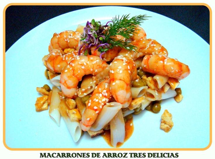 MACARRONES DE ARROZ TRES DELICIAS (con vídeo-receta)