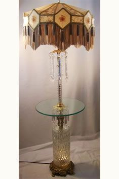 Awesome Antique Table Floor Lamp~hanging Crystals On The Top Glass Table And More  Crystals Hanging At The Bottom Of The Table~Victorian (?