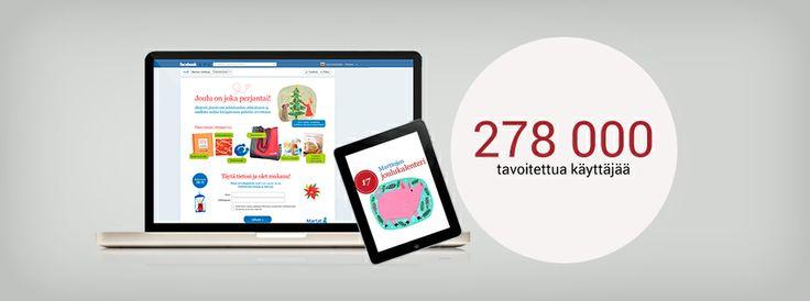 Marttaliitto: Facebook-kampanja jouluna 2012, 278000 tavoitettua käyttäjää ja tykkääjämäärä kasvoi kuukaudessa 182% // Facebook-campaign for Marttaliitto. Reached 278000 Facebook users during December 2012.