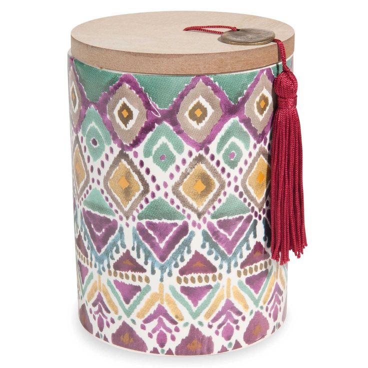 Bougie parfumée en céramique coloris prune H 13 cm IKAT