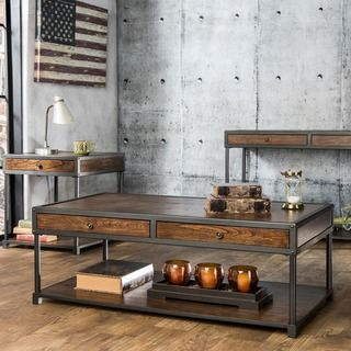 Furniture of America Thorne Antique Oak Industrial Accent Table Set - Overstock™ Shopping - Great Deals on Furniture of America Coffee, Sofa & End Tables