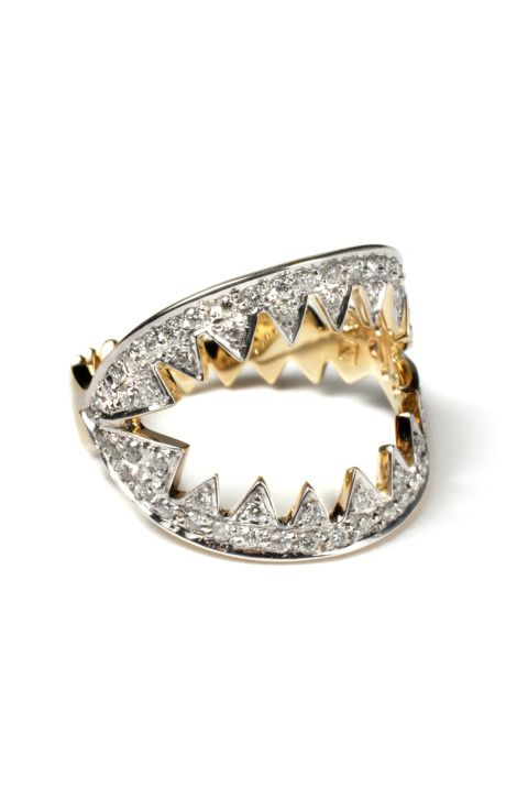 Ara Vartanian White Diamond Jaw Ring. This shark jaw-inspired ring features round cut white diamonds throughout and a solid yellow gold band. Yellow gold, 0.37k white diamonds, made in Brazil.