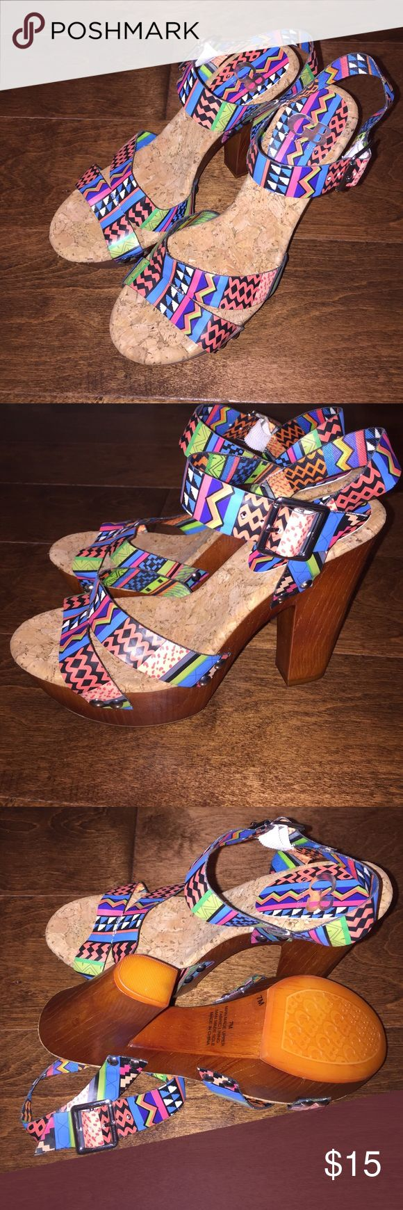 saleGianni Bini platform Aztec Heels These are bright colorful and go with everything !! Love GB Gianni Bini and these don't disappoint ! Never worn size 7. Gianni Bini Shoes Platforms