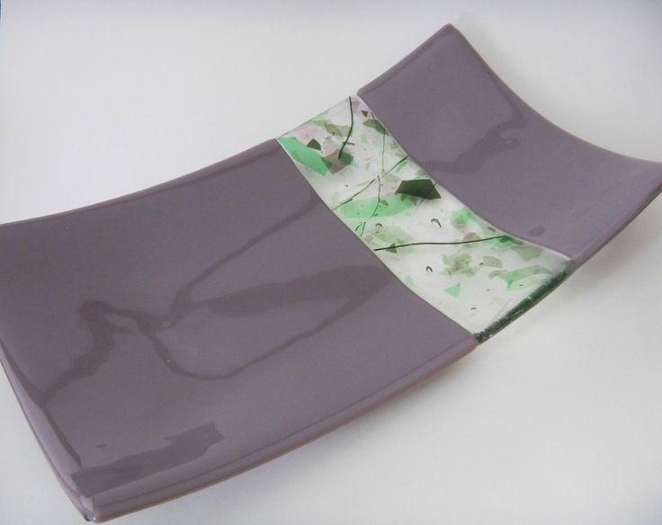 Lavender and Green Confetti Stripe Fused Glass Tray. $33.00, via Etsy.