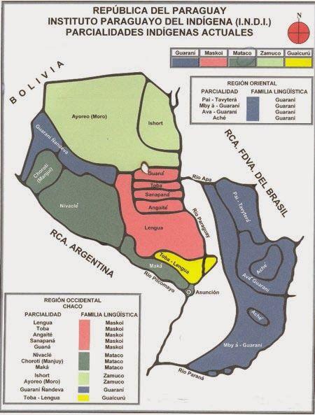 Este Mapa del INDI es una recreación hipotética de las tierras que ocupaban los distintos grupos étnicos ancestrales del Chaco paraguayo. No veo razón para no creer que pueda ser utilizado como documento válido.