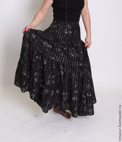 """Ярусная юбка """"Цветы полуночи"""" - чёрный,юбка в пол,юбка длинная,юбка летняя"""