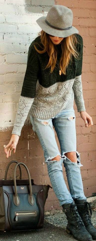 Black/Gray Color block sweater + light wash distressed jeans + black boots + gray hat + black bag,