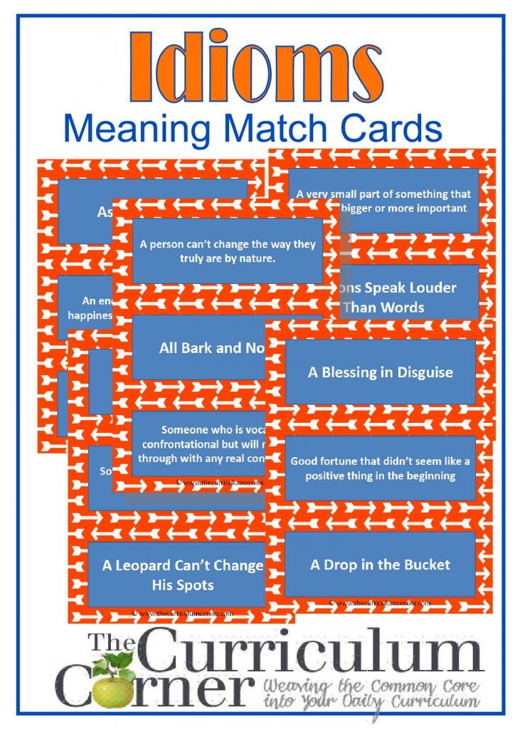 CCSS.ELA-LITERACY.L.4.5.B & 5.5.B – Recognize and explain the meaning of common idioms, adages and proverbs. Here we have created a set of 44 matching cards that contain common idioms in the English language and the matching meanings behind the idioms. You can use these cards as a simple matching activity or get your students up …