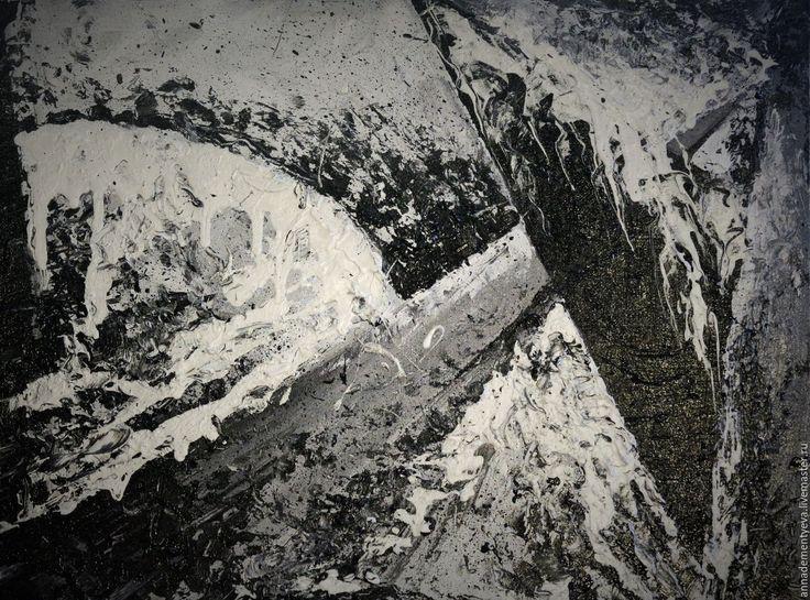 Купить Горы - чёрно-белый, луна, горы, Снег, серебро, полнолуние, пейзаж, подарок
