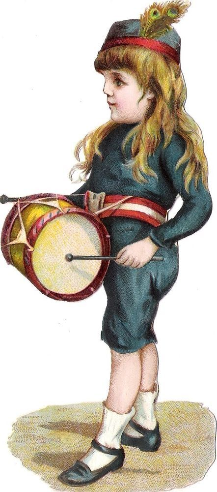 Oblaten Glanzbild scrap die cut chromo Kind child 15,2 cm enfant  Trommel drum