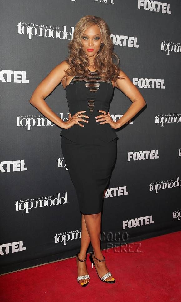 Tyra Banks Flashes Her Svelte Figure In A Tight Little Dress For Australia's Next Top Model!