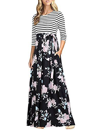 643559214539 HNNATTA Women 3/4 Sleeve Striped Floral Print Tie Waist Party Maxi Dress  With Pockets at Amazon Women's Clothing store: