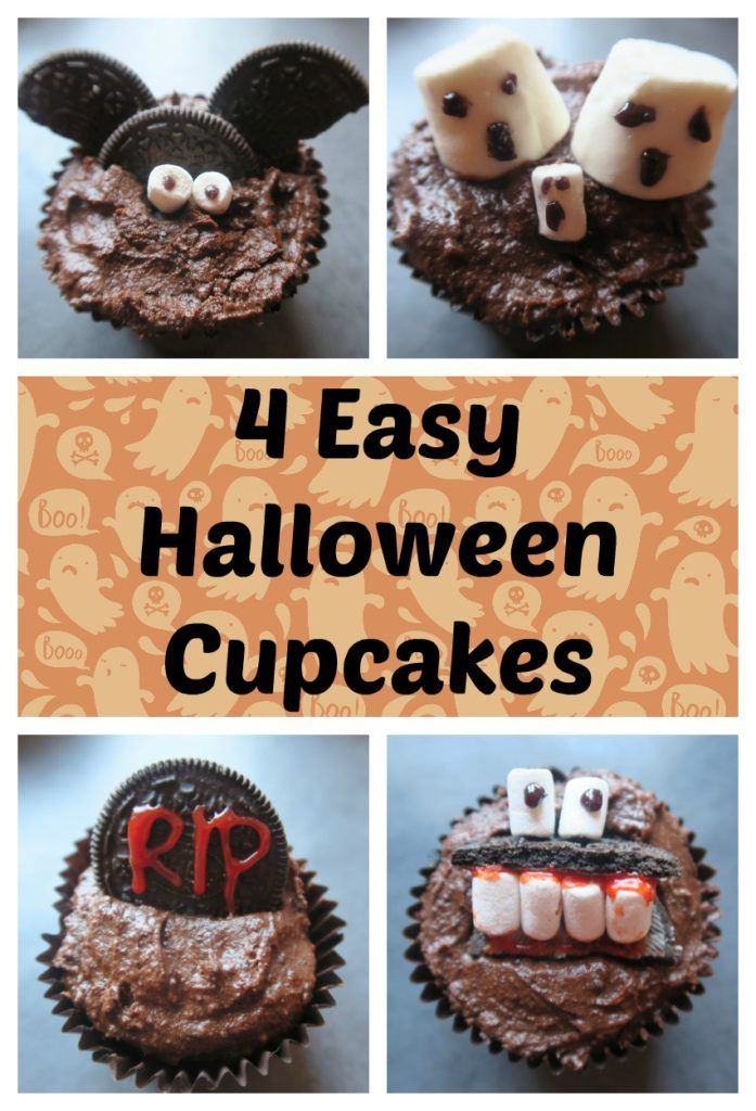 4 Easy Halloween Cupcakes  These are really simple and fun designs to make with the kids or for a Hallowen party. They are also all dairy free and egg free! Find my amazing vegan chocolate cake recipe and use some simple everyday decorations to make these spooky designs.    www.freefromfarmhouse.co.uk