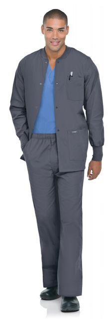 Landau Men's Warm Up Jacket. Extremely sophisticated, classic and stylish medical scrub uniform.