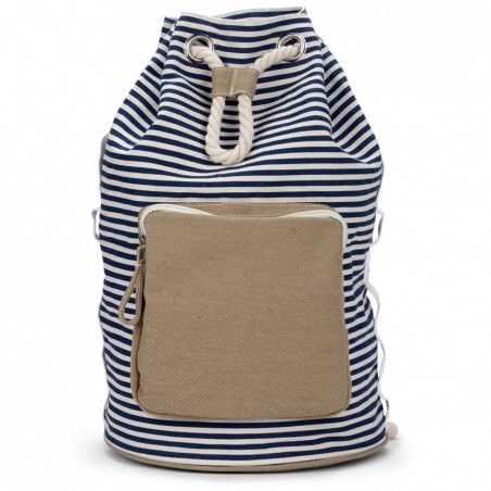 Women's Navy White Cotton Canvas Stripe Backpack | Kora by Sole Society