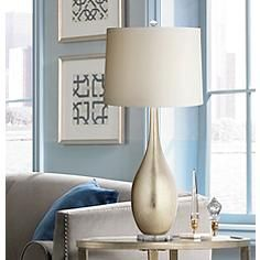 A Chic Vase Style Table Lamp From The Possini Euro Design Collection That  Features A Silverleaf Finish And A Crisp Drum Shade.