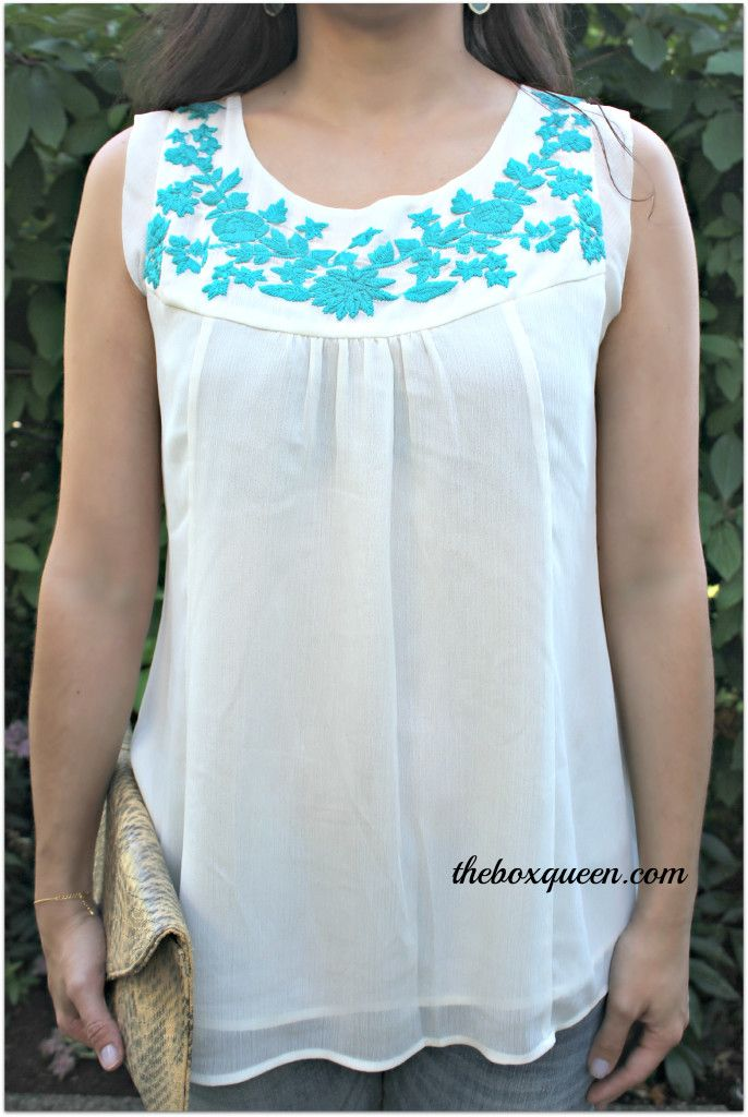 Cute top! Pretty colors together!