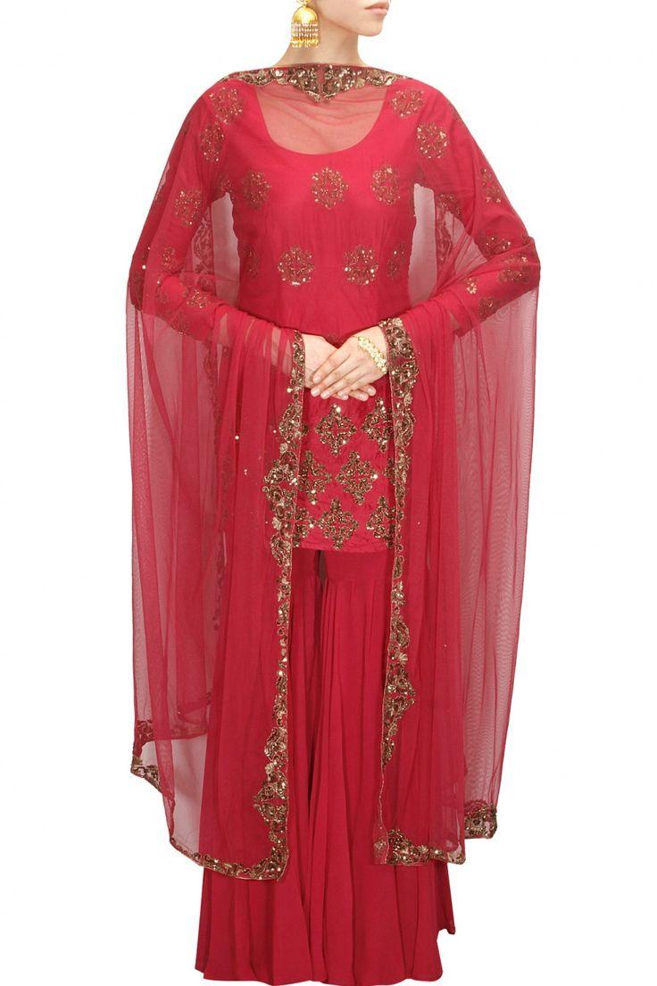 ASTHA NARANG Red embroidered short kurta gharara set