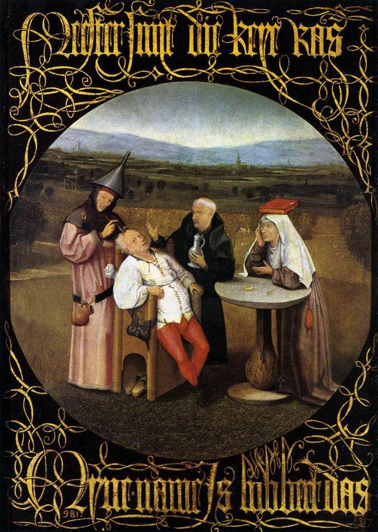 ヒエロニムス・ボス 「愚者の石の切除」1475-80   48 x 35 cm  プラド美術館、マドリード