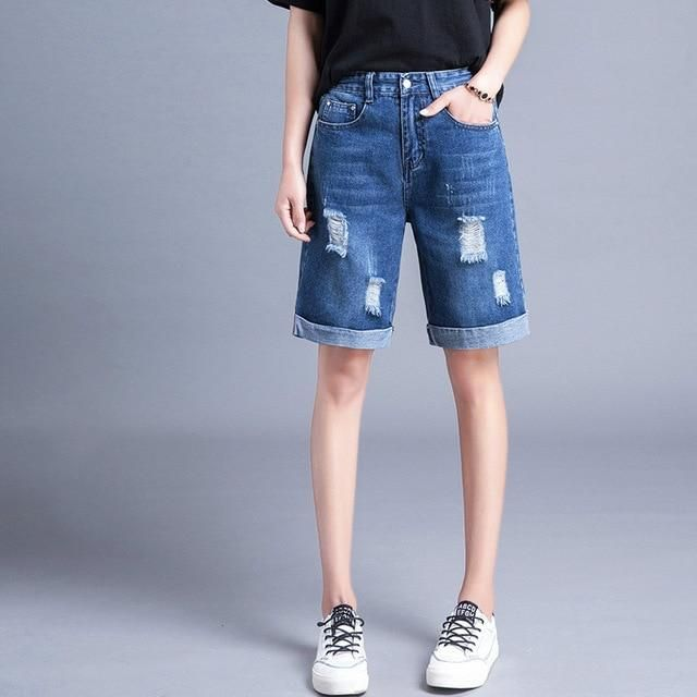 Pencil Ripped Holes Denim Shorts Women Plus Size Summer Women Slim Knee Length Long Shorts Cutting Short Jeans dark blue 29