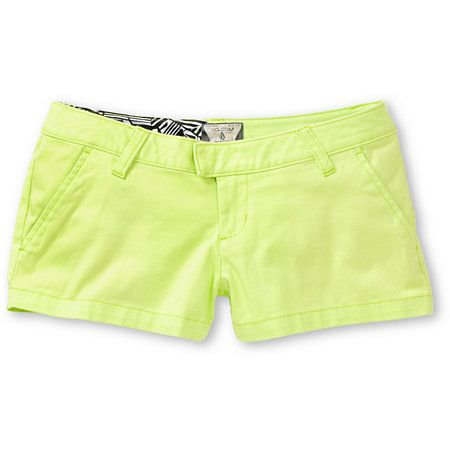 Summer with the Corpo Class calls for the Frochickie neon lime chino shorts from Volcom Girls. These bright green girls shorts feature chino style slash pockets the front, welt pockets at the back, and a zip and button tab fly for a clean look. With a los