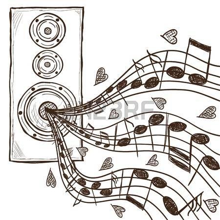 Illusztráció hangszóró és jegyzetek - kézzel rajzolt stílusban