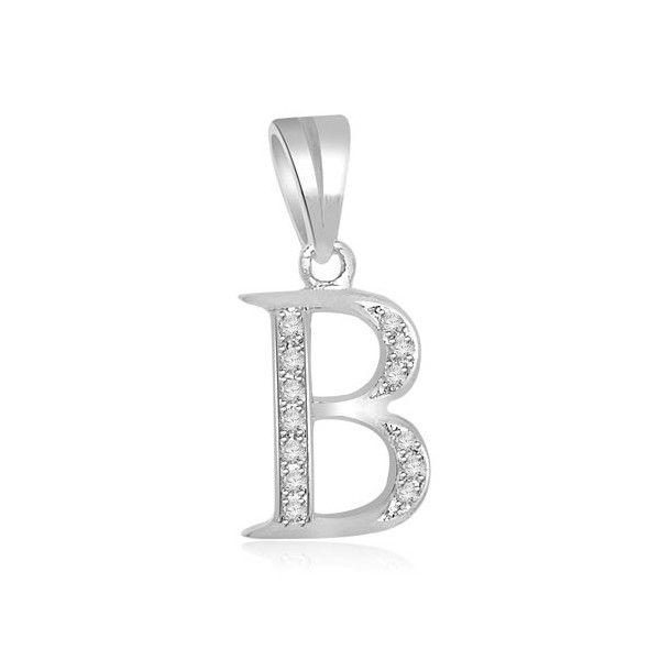 PENDENTE LETTERA CON DIAMANTI 18CT ORO BIANCO | Pentente lettera `B` con diamanti. I diamanti sono taglio brillante per un peso totale di 0.15ct e sono montati a pave`. I diamanti sono G colore e SI1 purezza. Questo pendente e` accompagnato dal certificato del diamante.