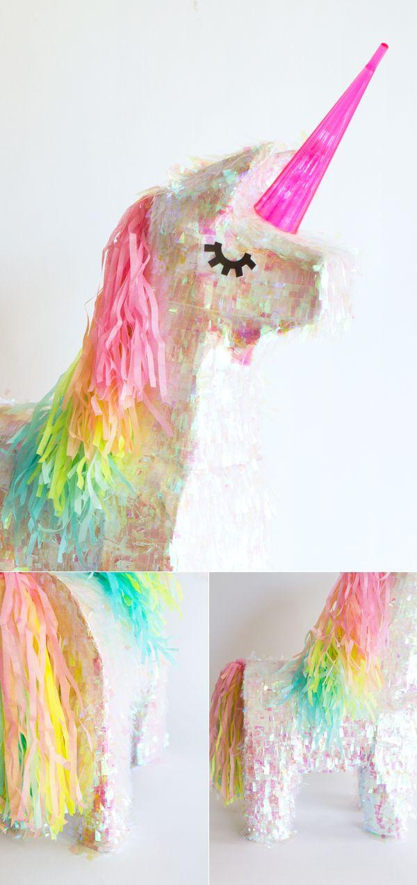 Piñata de unicornio para cumpleaños de niña.