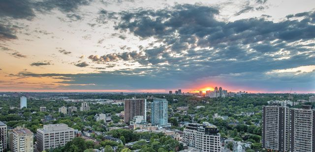 West view from Top floor luxury penthouse for sale at the Florian Condos Victoria Boscariol Chestnut Park Real Estate