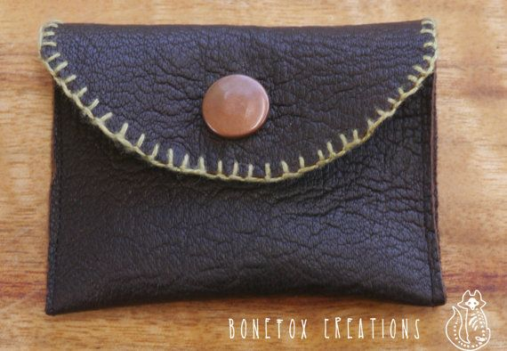 Small brown leather handmade pouch with press stud. by BoneFox