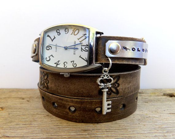 Rustic leather watch, Personalized wrist watch, Women's wrap watch, Customizable gift for women's, Handstamped gift, Engraved watch