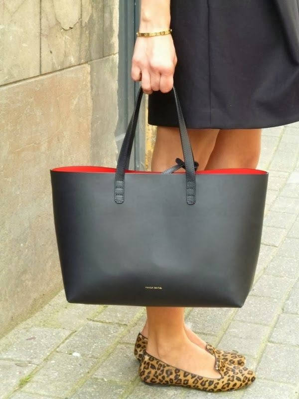 Mansur Gavriel S Tote Bag Black Leather With Red Interior