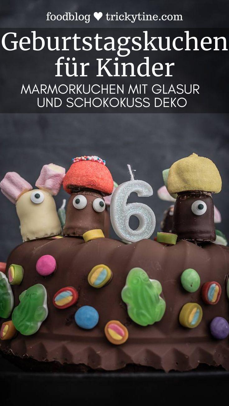 Kindergeburtstag Marmorkuchen mit Schokoglasur, Schokoküssen und Süßigkeiten Deko – Schokoladen Rezepte