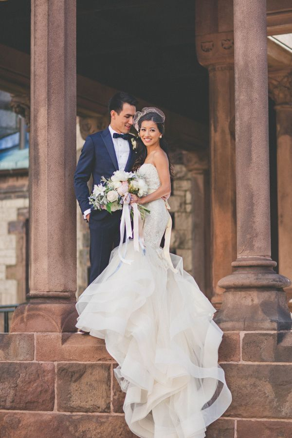 Blogger bride Extra-Petite's stunning lace and tulle mermaid wedding dress: http://www.stylemepretty.com/2015/12/03/blogger-bride-extra-petite-vintage-inspired-wedding-at-the-boston-public-library/ | Photography: Katch Studios - http://www.katchstudios.com/